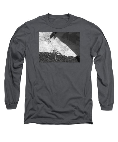 Long Sleeve T-Shirt featuring the photograph Abstract Of Rock And Shadow by Esther Newman-Cohen