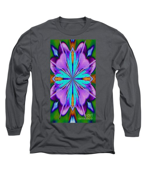 Long Sleeve T-Shirt featuring the digital art Abstract Purple Aqua And Green by Smilin Eyes  Treasures