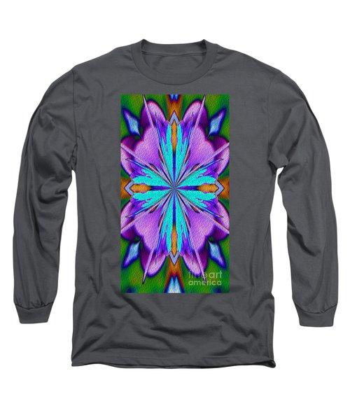 Abstract Purple Aqua And Green Long Sleeve T-Shirt