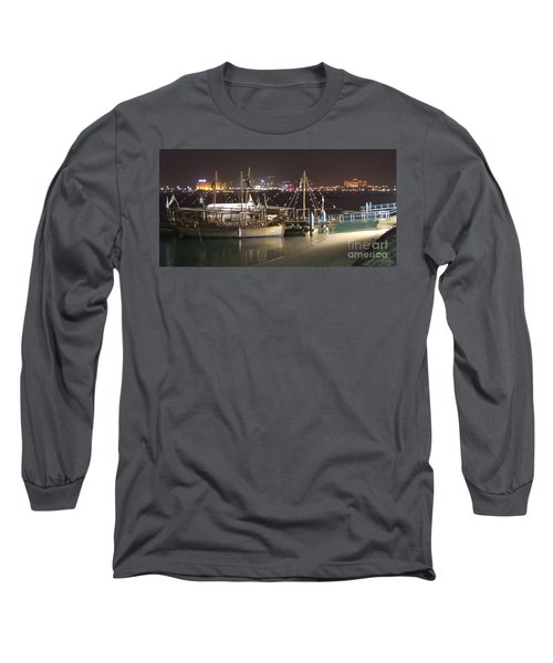 Long Sleeve T-Shirt featuring the photograph Abu Dhabi At Night by Andrea Anderegg