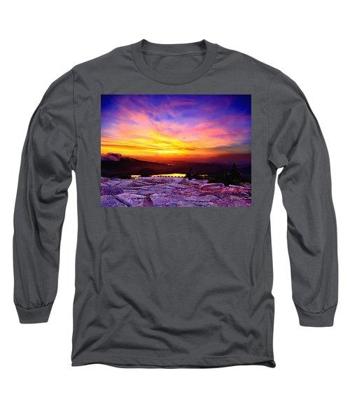 Acadia National Park Cadillac Mountain Sunrise Forsale Long Sleeve T-Shirt by Bob and Nadine Johnston