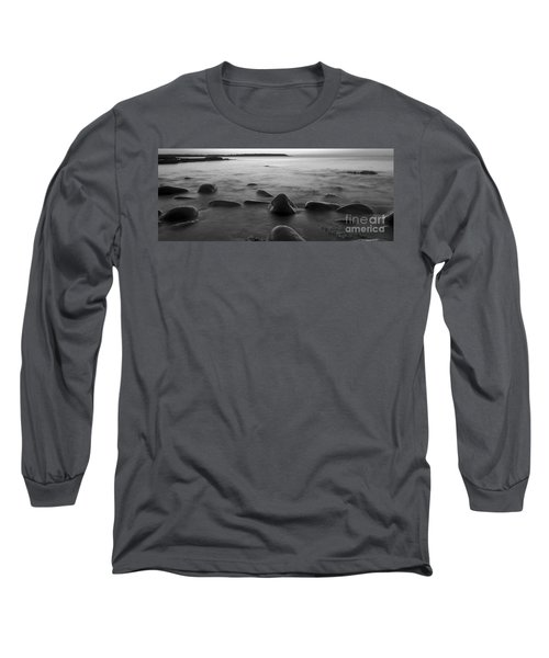 Acadia National Park Shoreline Sunrise Wakeup Black And White Long Sleeve T-Shirt