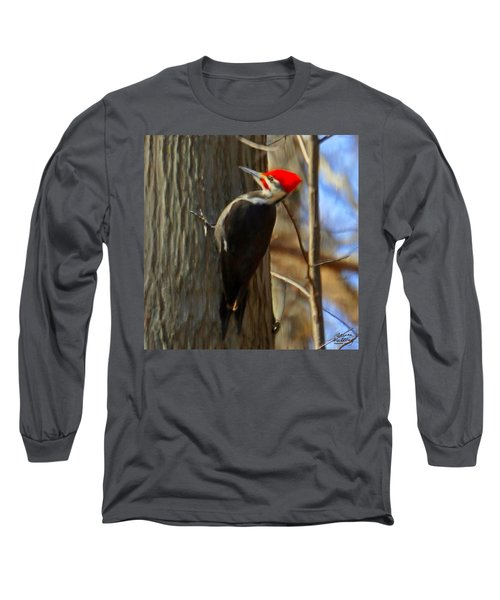 Adult Male Pileated Woodpecker Long Sleeve T-Shirt