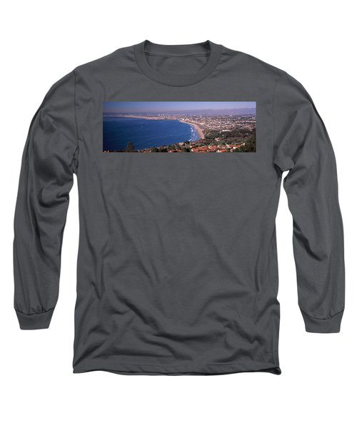 Aerial View Of A City At Coast, Santa Long Sleeve T-Shirt by Panoramic Images