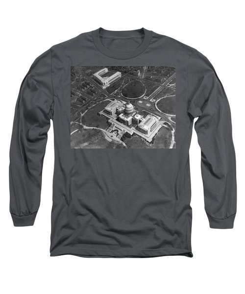 Aerial View Of U.s. Capitol Long Sleeve T-Shirt by Underwood Archives
