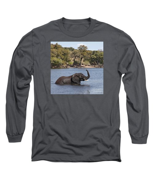 African Elephant In Chobe River  Long Sleeve T-Shirt