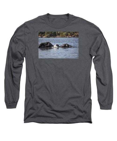 African Elephants Swimming In The Chobe River Botswana Long Sleeve T-Shirt