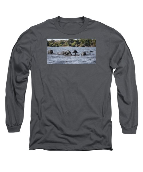 African Elephants Swimming In The Chobe River Long Sleeve T-Shirt