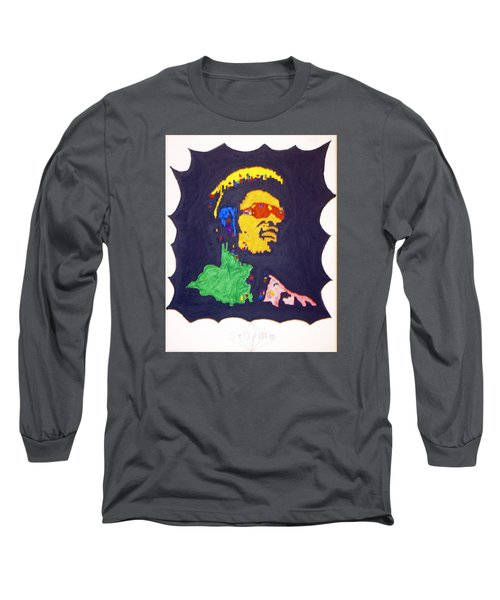 Long Sleeve T-Shirt featuring the painting Afro Stevie Wonder by Stormm Bradshaw