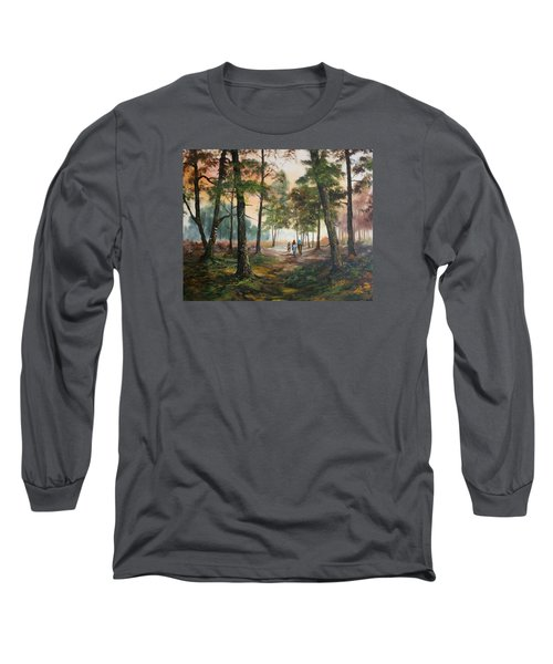 Long Sleeve T-Shirt featuring the painting Afternoon Ride Through The Forest by Jean Walker