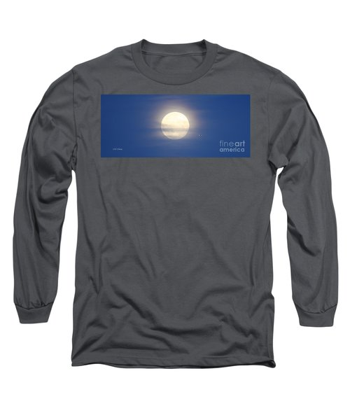 Airplane Flying Into Full Moon Long Sleeve T-Shirt