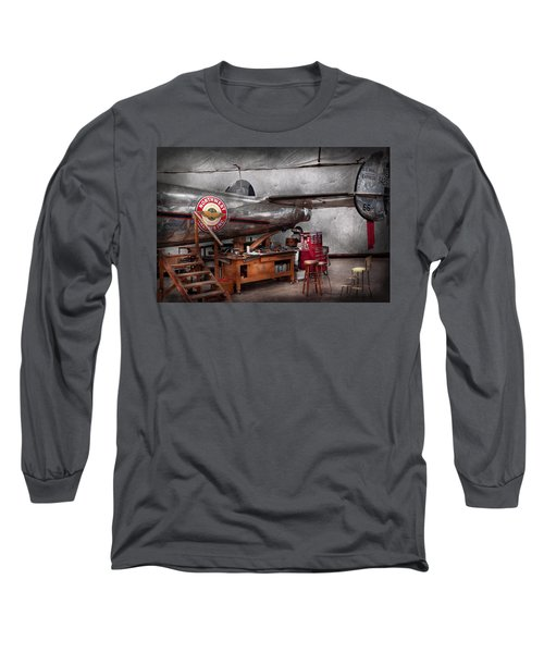 Airplane - The Repair Hanger  Long Sleeve T-Shirt by Mike Savad
