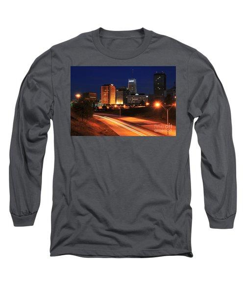 D1u-140 Akron Ohio Night Skyline Photo Long Sleeve T-Shirt