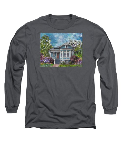 Long Sleeve T-Shirt featuring the painting Alameda 1884 - Eastlake Cottage by Linda Weinstock