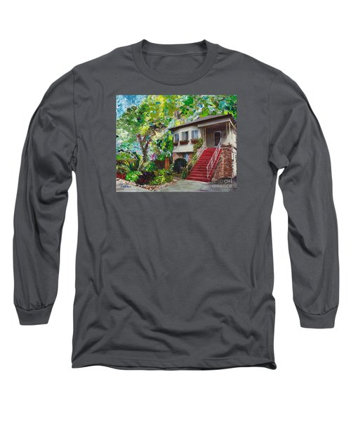Long Sleeve T-Shirt featuring the painting Alameda 1908 Duplex by Linda Weinstock