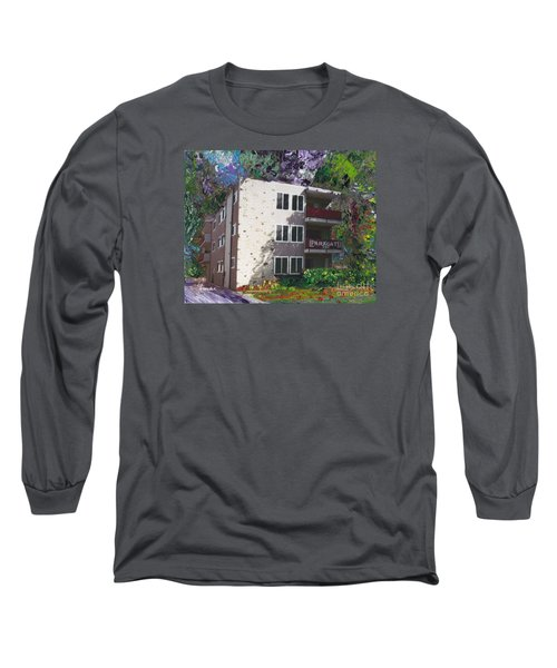 Long Sleeve T-Shirt featuring the painting Alameda 1964 Apartment Architecture   by Linda Weinstock