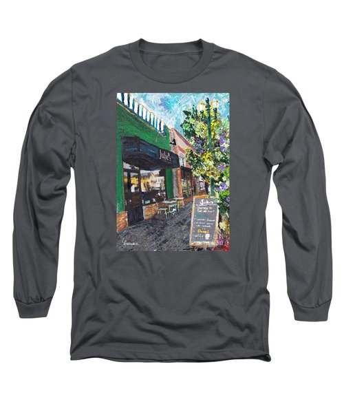 Long Sleeve T-Shirt featuring the painting Alameda Julie's Coffee N Tea Garden by Linda Weinstock