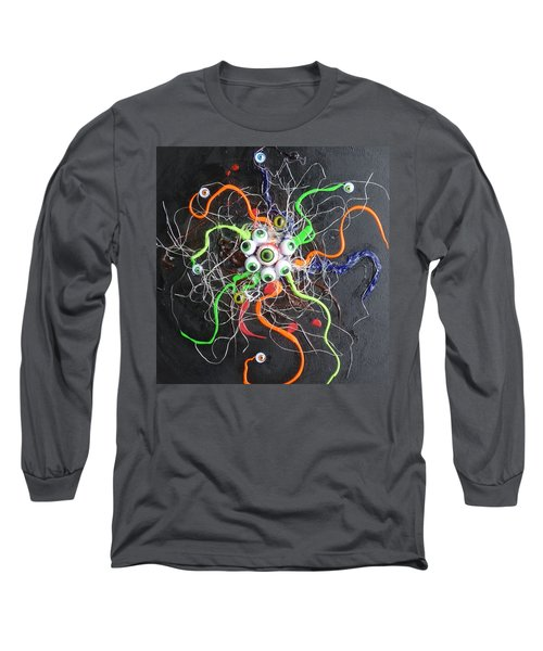 Alien Octopus In Spiderweb Long Sleeve T-Shirt