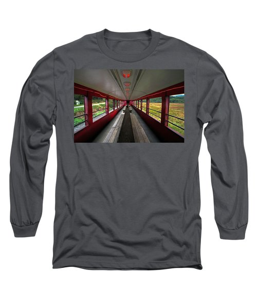 Long Sleeve T-Shirt featuring the photograph All Aboard Tioga Central Railroad by Suzanne Stout