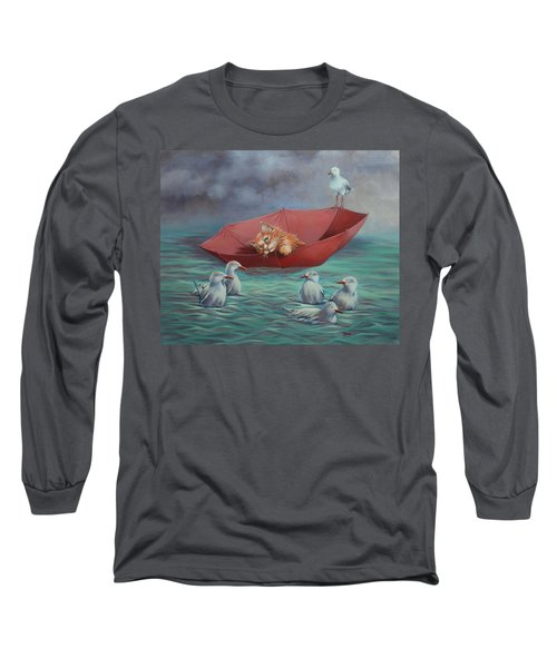 Long Sleeve T-Shirt featuring the painting All At Sea by Cynthia House