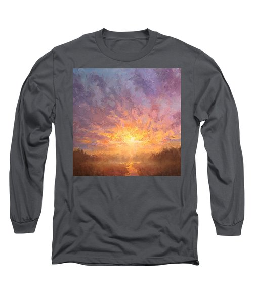 Impressionistic Sunrise Landscape Painting Long Sleeve T-Shirt by Karen Whitworth