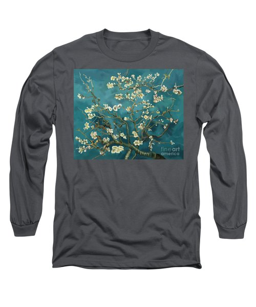 Long Sleeve T-Shirt featuring the painting Almond Blossoms' Reproduction by Tim Gilliland