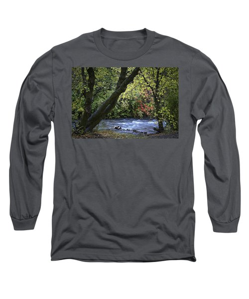 Long Sleeve T-Shirt featuring the photograph Along Swift Waters by Priscilla Burgers