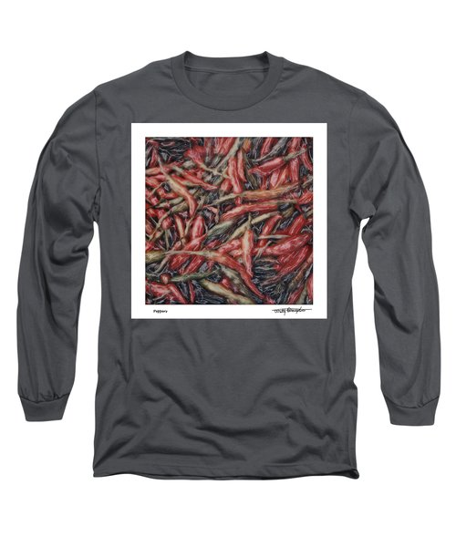Altered Polaroid - Chile Peppers Long Sleeve T-Shirt by Wally Hampton