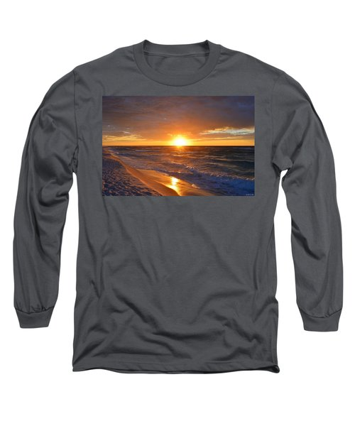 Long Sleeve T-Shirt featuring the photograph Amazing Sunrise Colors And Waves On Navarre Beach by Jeff at JSJ Photography