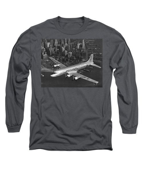 American Dc-6 Flying Over Nyc Long Sleeve T-Shirt