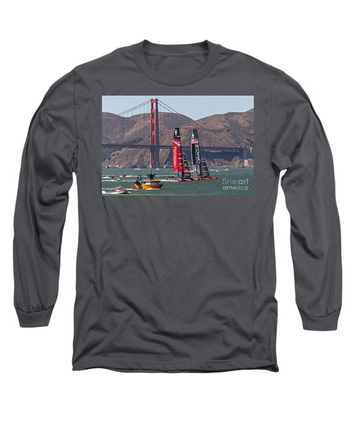 Long Sleeve T-Shirt featuring the photograph Americas Cup At The Gate by Kate Brown