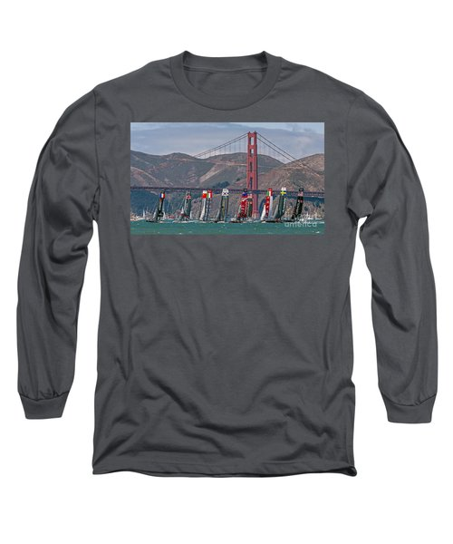 Long Sleeve T-Shirt featuring the photograph Americas Cup Catamarans At The Golden Gate by Kate Brown