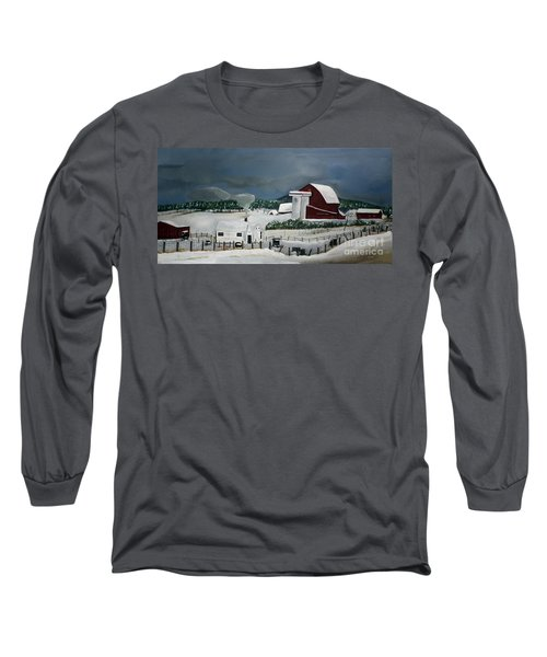 Long Sleeve T-Shirt featuring the painting Amish Farm - Winter - Michigan by Jan Dappen