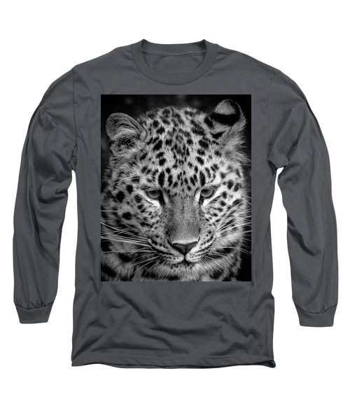 Amur Leopard In Black And White Long Sleeve T-Shirt