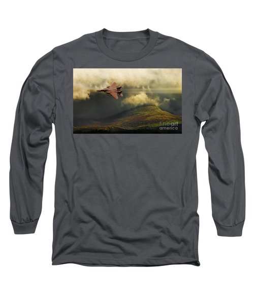 Long Sleeve T-Shirt featuring the photograph An Eagle Over Cumbria by Meirion Matthias
