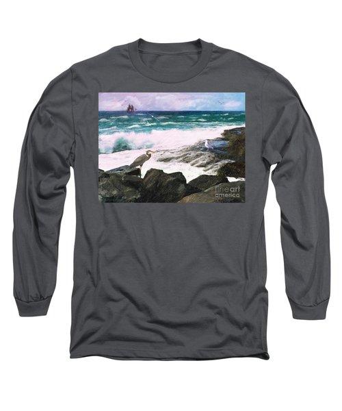 Long Sleeve T-Shirt featuring the digital art An Egret's View Seascape by Lianne Schneider