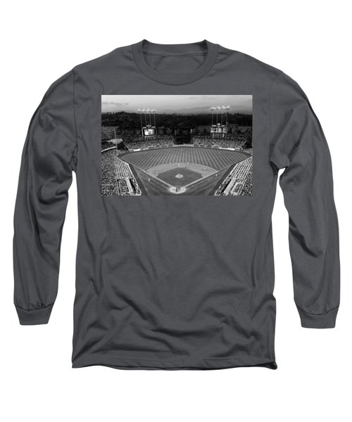 An Evening Game At Dodger Stadium Long Sleeve T-Shirt by Mountain Dreams