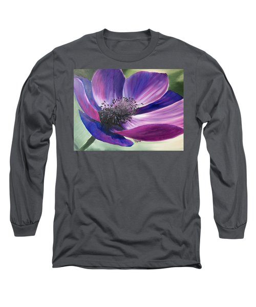 Anemone Coronaria Long Sleeve T-Shirt by Claudia Goodell