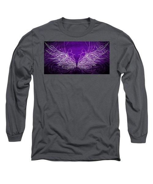 Angel Wings Royal Long Sleeve T-Shirt by Angelina Vick