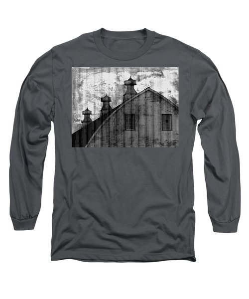 Antique Barn - Black And White Long Sleeve T-Shirt by Joseph Skompski