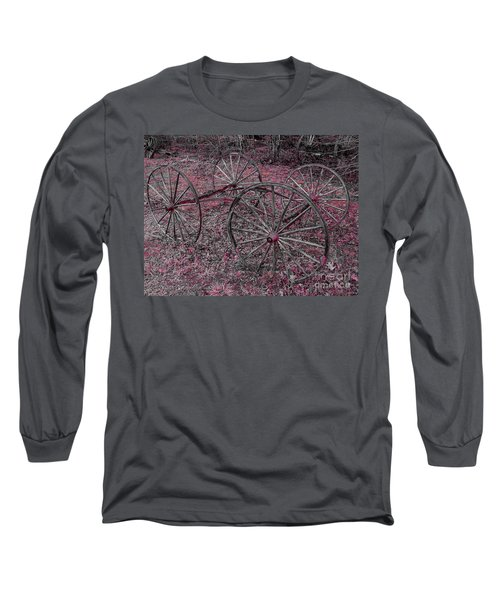 Long Sleeve T-Shirt featuring the photograph Antique Wagon Wheels by Sherman Perry
