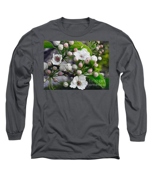 Long Sleeve T-Shirt featuring the photograph Apple Blossoms In Oil by Nina Silver