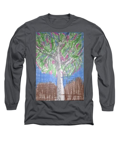 Long Sleeve T-Shirt featuring the drawing Apple Tree by Erika Chamberlin
