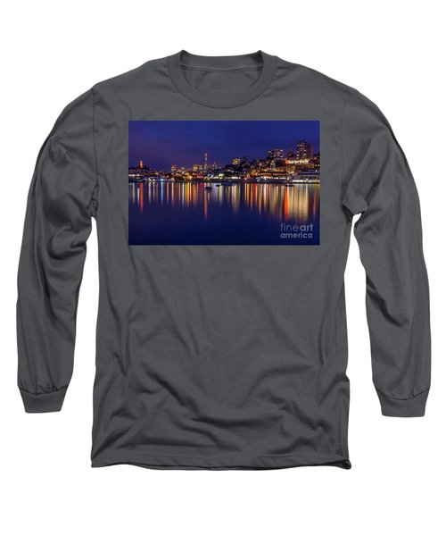 Long Sleeve T-Shirt featuring the photograph Aquatic Park Blue Hour Wide View by Kate Brown