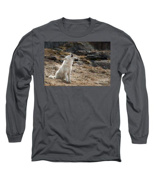 Long Sleeve T-Shirt featuring the photograph Arctic Wolf Howling by Wolves Only