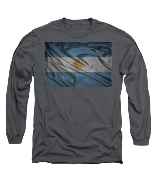 Argentinian Flag Waving On Canvas Long Sleeve T-Shirt
