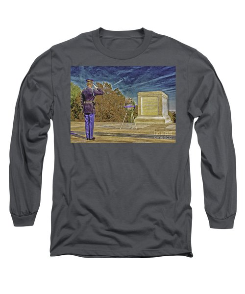Arlington Cemetery Tomb Of The Unknowns Long Sleeve T-Shirt by Bob and Nadine Johnston