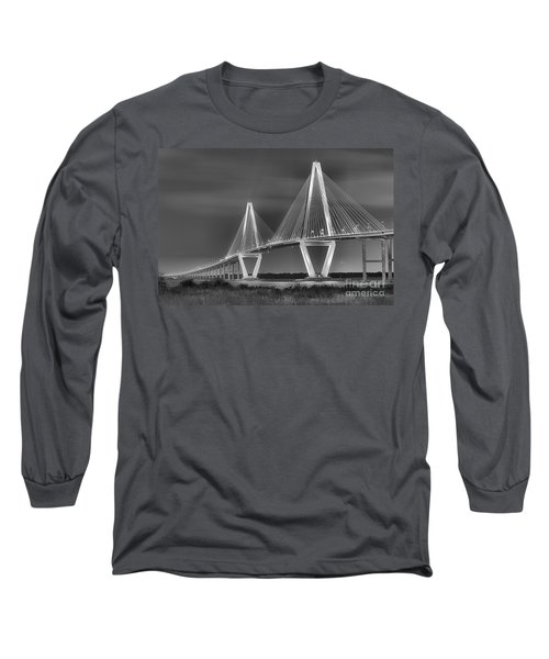 Arthur Ravenel Jr. Bridge In Black And White Long Sleeve T-Shirt
