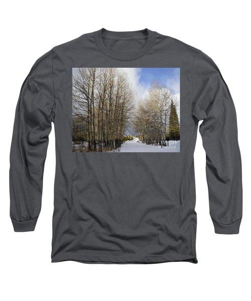 Aspen Trees Along Snowy Colorado Path Long Sleeve T-Shirt by Loriannah Hespe