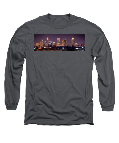 Atlanta Skyline At Night Downtown Midtown Color Panorama Long Sleeve T-Shirt by Jon Holiday